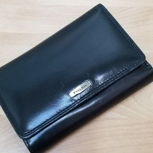 FOSSIL | BLACK LEATHER TRIFOLD WALLET